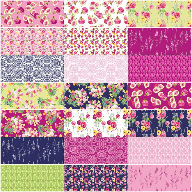 Riley Blake 10-7640-42 Bright Floral Fabric Squares Fruitful Pleasures Layer Cake Precut Floral Fabric Squares Lila Tueller Fabric