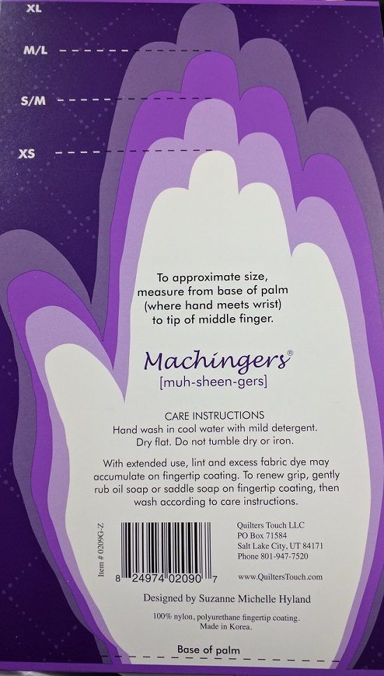Crafting Sewing by Quilters Touch Machingers S//M Gloves Designed for Quilting